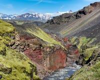 Каньон Emstrua †Sydri «, заповедник Fjallabak, Исландия стоковая фотография
