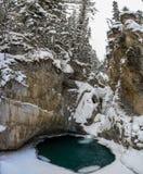 Каньон Johnston понижает падения во время морозного и снежного дня, реки смычка, Альберты Канады стоковая фотография rf