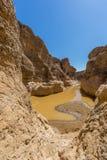 Каньон Sesriem в пустыне Namib с водой, голубым небом стоковое изображение rf