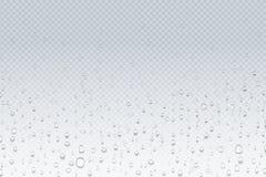 Падения воды на стекле Капельки дождя на прозрачном окне, картине конденсации пара, стекле ливня Падения воды вектора иллюстрация штока