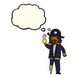 капитан пирата шаржа с пузырем мысли Стоковая Фотография