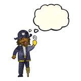 капитан пирата шаржа с пузырем мысли Стоковая Фотография RF
