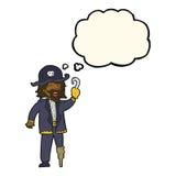 капитан пирата шаржа с пузырем мысли Стоковое Изображение