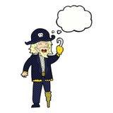 капитан пирата шаржа с пузырем мысли Стоковые Фото