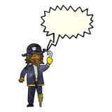 капитан пирата шаржа с пузырем речи Стоковое Изображение