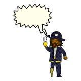 капитан пирата шаржа с пузырем речи Стоковые Изображения