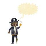 капитан пирата шаржа с пузырем речи Стоковые Фото
