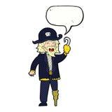 капитан пирата шаржа с пузырем речи Стоковые Фотографии RF