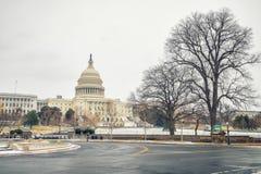 Капитолий США в DC Вашингтона на зиме стоковые изображения rf