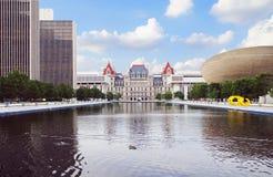 Капитолий штат Нью-Йорк и площадь Имперского штата в Albany Стоковая Фотография RF