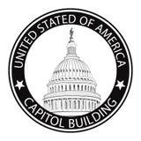 Капитолий DC Вашингтона, США. Ярлык штемпеля ориентир ориентира Стоковое Изображение
