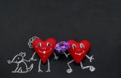 Капризные сердца на доске для меню Стоковая Фотография