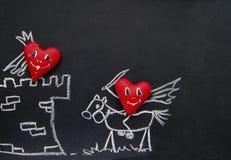 Капризные сердца на доске для меню Стоковое Изображение