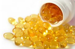 Капсулы масла рыб Omega-3 тучные в бутылке Стоковое Изображение