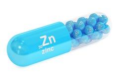капсула 3D с пищевой добавкой элемента Zn цинка иллюстрация вектора