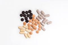 Капсулы витамина, пилюльки и конец-вверх таблеток Стоковая Фотография RF