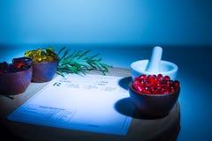 Капсулы, миномет, пестик и пусковая площадка рецепта Стоковое Фото