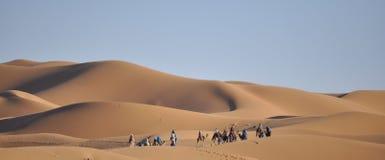 Караван на дюнах Merzouga, Марокко Стоковая Фотография RF