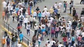 Каракас Венесуэла около протест 2017 для свободы в Венесуэле толпа большая акции видеоматериалы