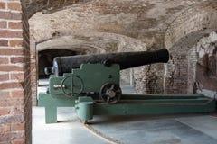 Карамболь береговой артиллерии гражданской войны в окне стоковое фото rf