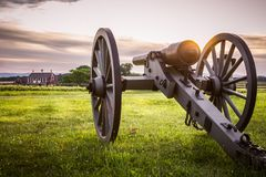 Карамболь и амбар Gettysburg на заходе солнца Стоковые Изображения RF
