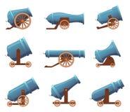карамболь ретро Вектор артиллерии цирка винтажных военных старых оружий утюга средневековый в стиле мультфильма иллюстрация вектора