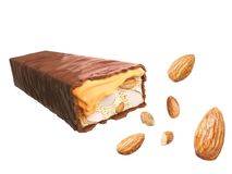 Карамелька шоколадного батончика с гайкой или миндалиной, сладостным вкусом, кудрявой вафлей иллюстрация штока