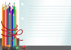 карандаши бумаги тетради цвета Стоковое Изображение RF