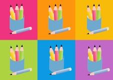 карандаши иконы Стоковое Изображение RF