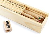 карандаши карандаша цвета случая Стоковые Изображения