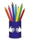 карандаши пригорошни чашки цвета иллюстрация штока