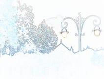 Карандаш иллюстрации: деревья форм и уличный свет Стоковое Фото