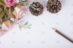 Карандаш крупного плана на календаре с розовым цветком организация Стоковое Изображение