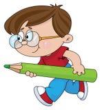 карандаш мальчика иллюстрация вектора
