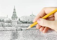 карандаш руки чертежа Стоковые Изображения RF