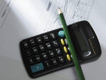 карандаш чалькулятора Стоковая Фотография