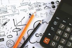 2 карандаша и калькулятор Стоковое Изображение
