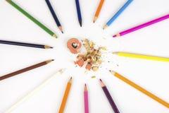 Карандаши и Shavings цвета Стоковое Изображение