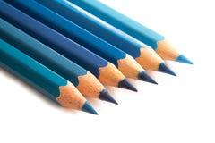 Карандаши покрашенные синью Стоковое Фото