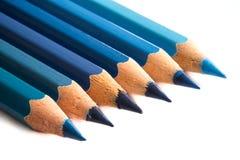 Карандаши покрашенные синью Стоковое фото RF