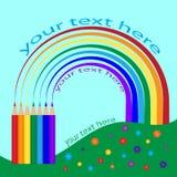 Карандаши с scribble радуги Стоковое Фото
