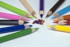 Карандаши цвета, брить карандаша цвета Стоковая Фотография