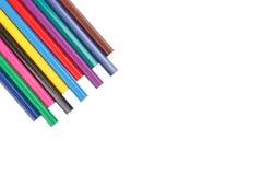 Карандаши цвета детей изолированные на белой предпосылке Стоковое фото RF