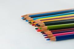 Карандаши цвета изолированные на белом конце предпосылки вверх Стоковая Фотография