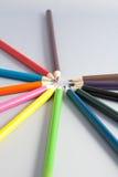 Карандаши цвета на сером цвете Стоковая Фотография RF