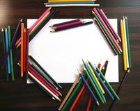 Карандаши для рисовать на белизне Стоковые Изображения RF