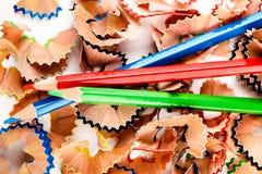 Карандаши shavings цвета Стоковые Изображения