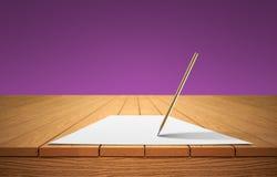 Карандаш и лист бумаги на деревянном столе стоковая фотография rf