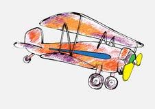Карандаш нарисованный красного самолета также вектор иллюстрации притяжки corel Стоковое Изображение