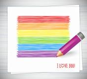 Карандаш радуги нарисованный нашивками Флаг LGBT, культура гомосексуалиста символа Стоковое Изображение